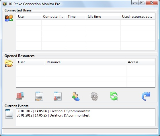 10-Strike Connection Monitor screenshot: network, resource, share, access, monitor, connection, server, user, protect, security
