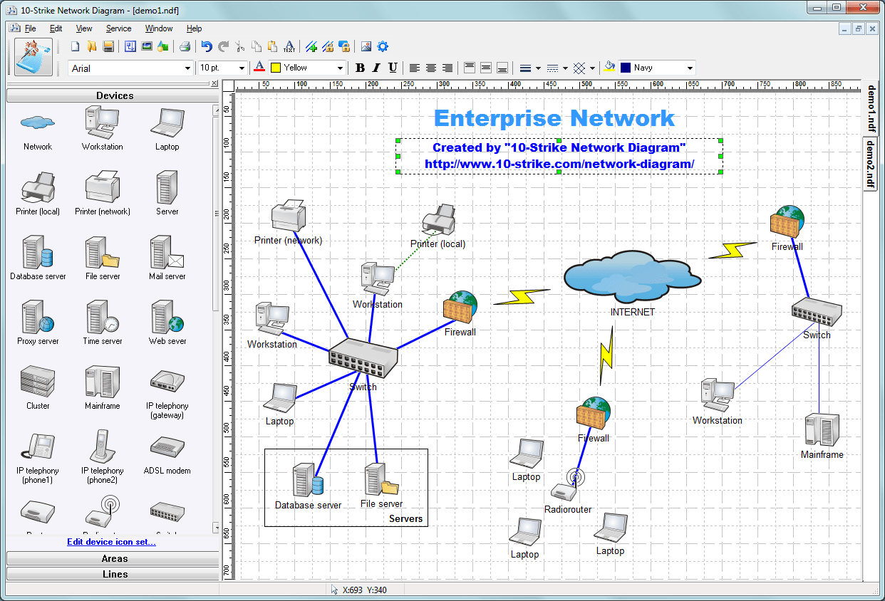 10-Strike Network Diagram - Software for Creating Topology Diagrams