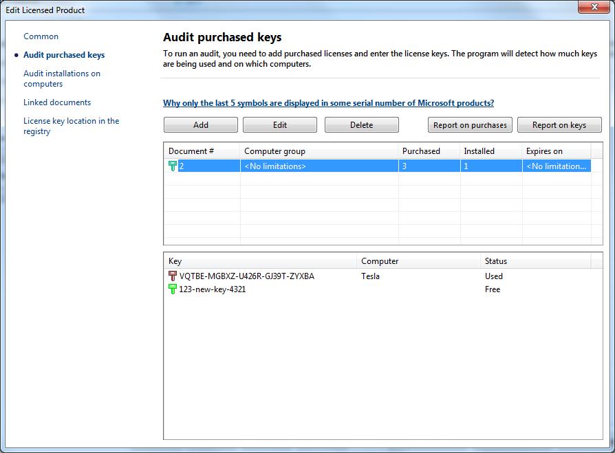 Network Inventory: Software Audit: License Keys Auditing